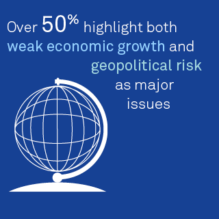 Over 50% highlight both weak economic growth and geopolitical risk as major issues