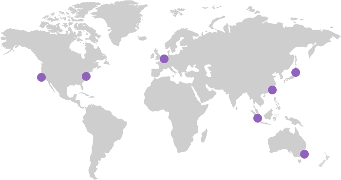 World map with Investment Stewardship global office locations: San Francisco, New York, London, Singapore, Tokyo, Hong Kong & Sydney