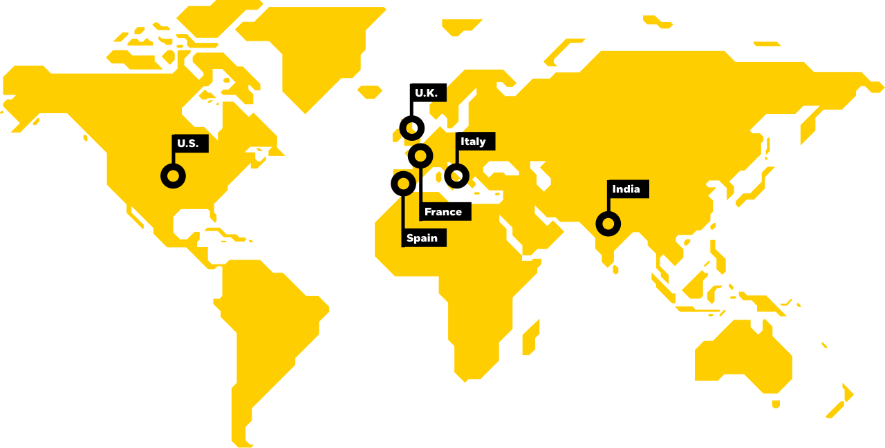 Yellow vector world map