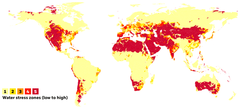Projected water stress around the world by risk zone, 2030